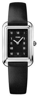 Fendi Classico Rectangle Stainless Steel & Leather-Strap Watch