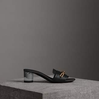 Burberry Link Detail Satin Heeled Slides , Size: 38, Black