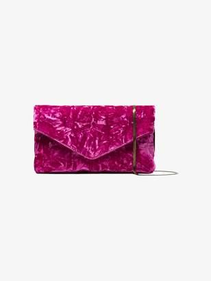 Dries Van Noten Pink Envelope Crushed Velvet Clutch Bag