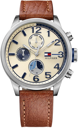 Tommy Hilfiger Men's Casual Sport Brown Leather Strap Watch 44mm 1791239 $165 thestylecure.com