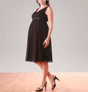 Sleeveless Faux Wrap Maternity Dress