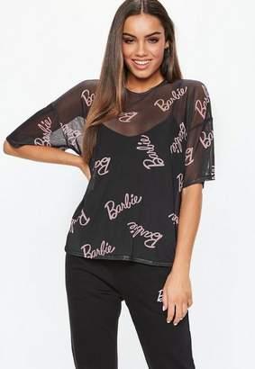 Missguided Barbie X Black Mesh Printed T-shirt