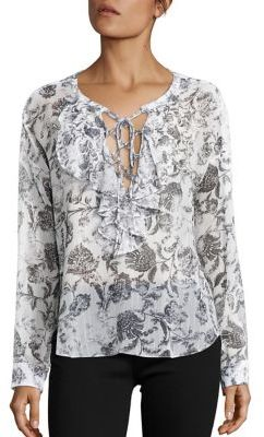 The Kooples Baroque Print Ruffle Lace-Up Top $255 thestylecure.com
