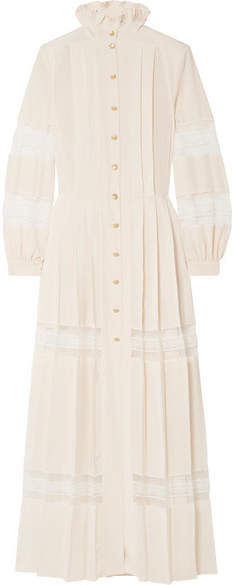 Philosophy di Lorenzo Serafini - Pleated Lace-paneled Crepe De Chine Maxi Dress - Cream