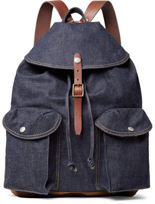 RRL Riley Leather And Suede-Trimmed Denim Backpack