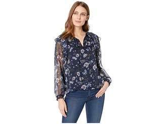 CeCe Long Sleeve Ruffled Bloomsbury Floral Blouse