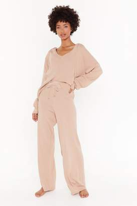 Nasty Gal Womens By Your Side Hoodie And Wide-Leg Trousers Lounge Set - Beige - 6