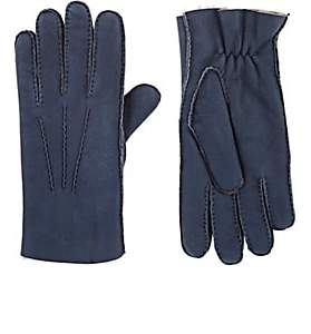 Barneys New York MEN'S PICK-STITCHED SHEARLING GLOVES-BLUE SIZE 9