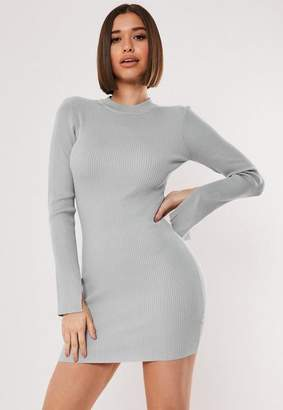 Missguided Gray Long Sleeve Ribbed Sweater Dress