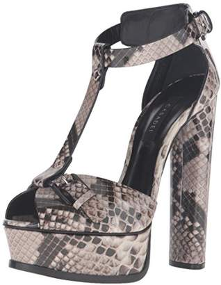 Casadei Women's Printed Python Patent Sandal Platform Dress