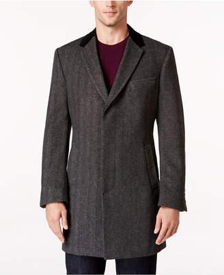 Tommy Hilfiger Grey Herringbone Overcoat