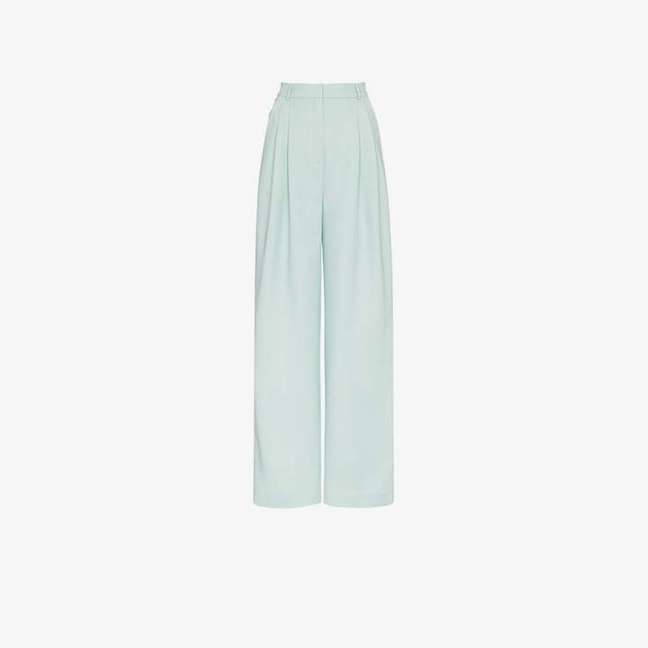 wide leg pleat front trousers