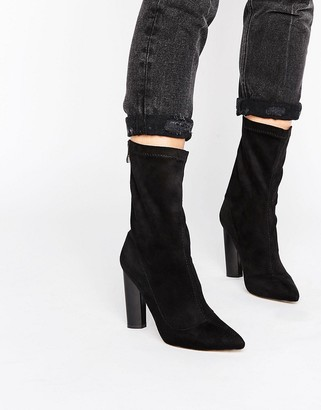 Public Desire Cayden Sock Point Heeled Ankle Boots
