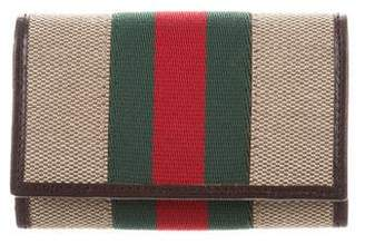 Gucci Vintage Web Canvas 6 Key Holder