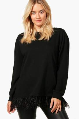 boohoo Feather Trim Sweater