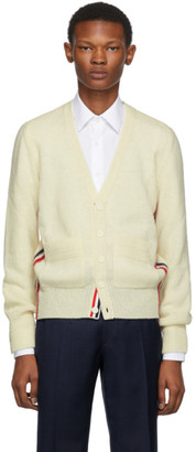 Thom Browne Off-White Wool Stripe Relaxed Fit V-Neck Cardigan