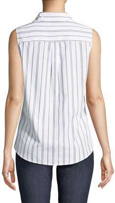 Iconic American Designer Striped Sleeveless Wrinkle-Free Blouse