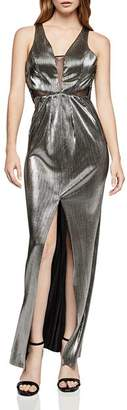 BCBGeneration Metallic Plissé Maxi Dress