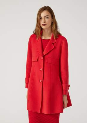 Emporio Armani Wool And Cashmere Flared Coat