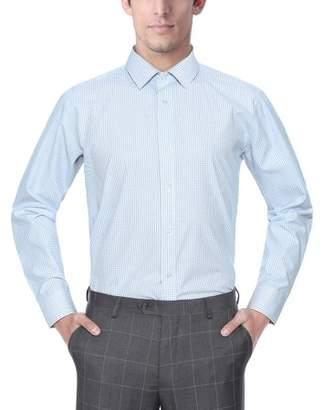 Verno Men's Fashion Classic Fit Plaid Fabric Long Sleeve Dress Shirt