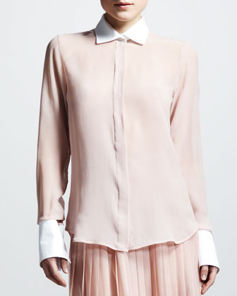 Valentino Contrast-Collar Georgette Blouse