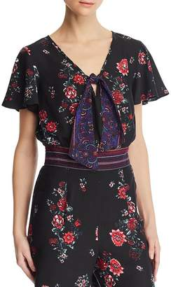 Band of Gypsies Cambridge Printed Tie-Front Top