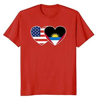 Antigua AND BARBUDA USA American Flag Twin Heart T Shirt