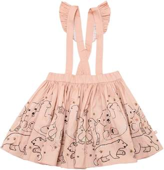 Molo Bears Cotton Poplin Skirt W/ Suspenders