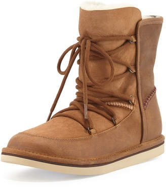 UGG Lodge Fur-Lined Lace-Up Boots Chestnut