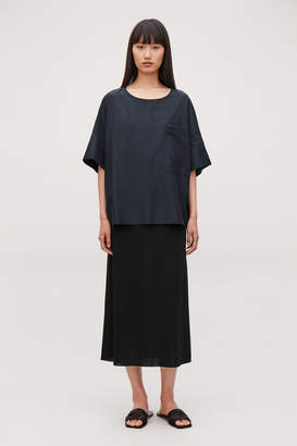 Cos COTTON-SILK CROPPED T-SHIRT