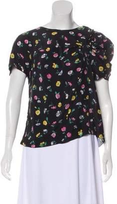 Nina Ricci Floral-Accented Short Sleeve Top