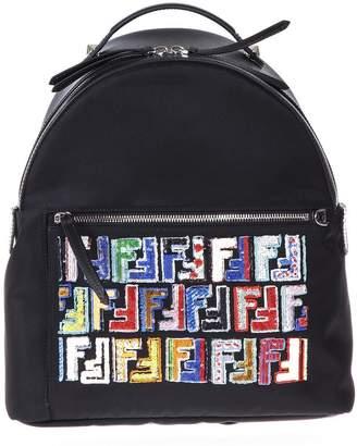 Fendi Black Fabric And Leather Backpack