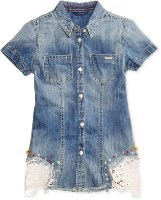 GUESS Lace-Trim Denim Button-Front Cotton Shirt, Big Girls (7-16) $46 thestylecure.com
