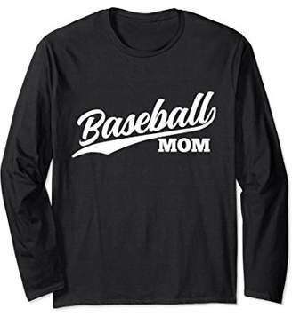 Womens Baseball Mom Long Sleeve Retro 1970s Cursive (Dark)