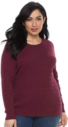 Croft & Barrow Plus Size Essential Cable-Knit Sweater
