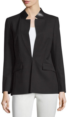 Lafayette 148 New York Yumiko Leather-Trim Open Jacket, Black $299 thestylecure.com