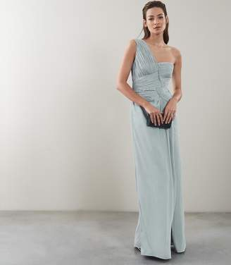 Reiss ABIGAIL ONE SHOULDER PLEAT DETAIL MAXI DRESS New Sage