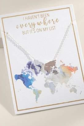 francesca's World Map Pendant Necklace in Silver - Silver