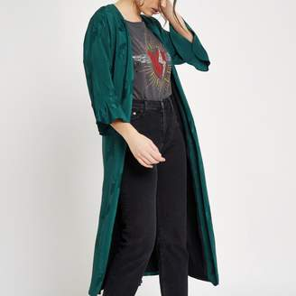 River Island Womens Green jacquard tie waist duster coat