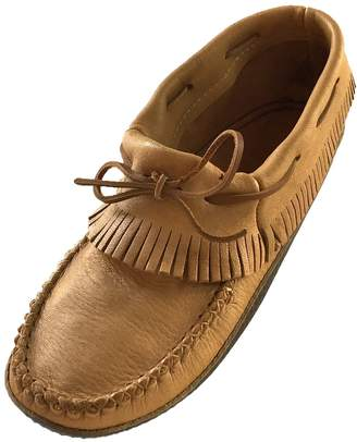 34bd79584f6e3 Bastien Industries Men s Fringe Moose Hide Leather with Heavy Oil Tan Sole  Earthing Ankle Moccasins