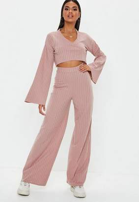 Missguided Rose Matte Ribbed Wide Leg Trousers