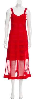 Alexander McQueen Silk Midi Dress Red Silk Midi Dress