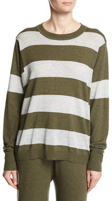 Minnie Rose Long-Sleeve Striped Pullover Top