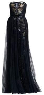 Marchesa Strapless Tulle& Sequin Gown