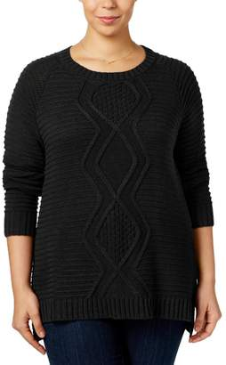 NY Collection Womens Plus Cable Knit Scoop Neck Pullover Sweater