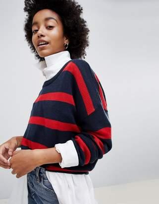 Brave Soul Grunge Round Neck Sweater in Stripe