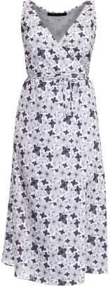 Philosofée - Charcoal Floral Chiffon Mid Wrap Dress