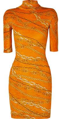 1554f80b484a Balenciaga Printed Crushed-velvet Mini Dress - Orange