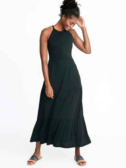 High-Neck Waist-Defined Maxi Dress for Women