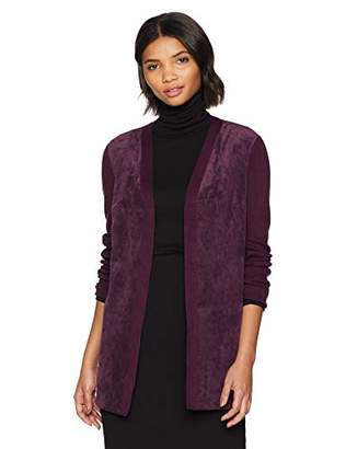 Calvin Klein Women's Long Sleeve Cardigan with Suede